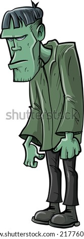 Cartoon Frankenstein in a green outfit. Isolated