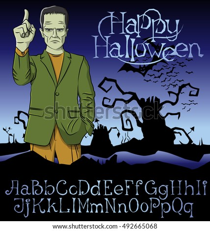 Cartoon Frankenstein vector. Frankenstein Halloween. Halloween background. Monster