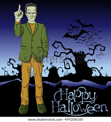 Cartoon Frankenstein vector Halloween.