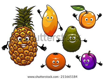Cartoon  fresh tropical fruits set with a happy smiling plum, pineapple, apricot, orange, peach, mango and avocado, for agriculture logo design - stock vector