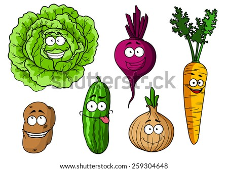 Cartoon fresh vegetables characters with  cabbage, beet, onion, carrot, potato and cucumber - stock vector