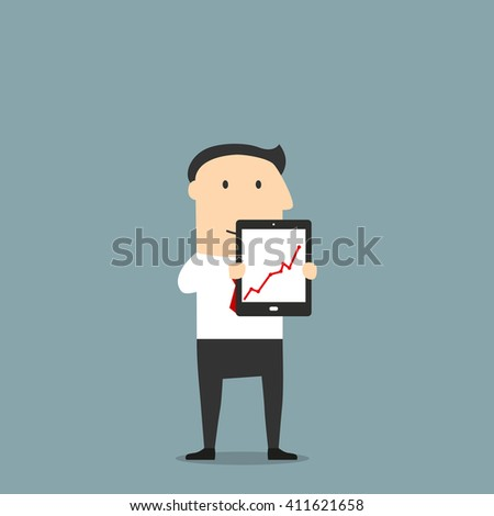 Cartoon friendly smiling businessman is presenting a tablet pc with rising graph. May be used as presentation, financial report, business project or advertisement design - stock vector
