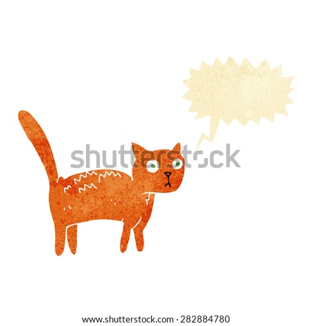 cartoon frightened cat with speech bubble - stock vector