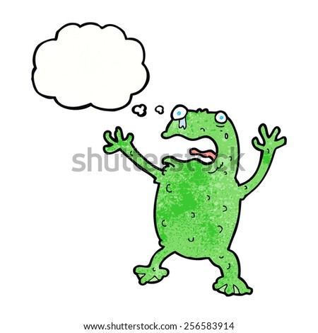 cartoon frightened frog with thought bubble - stock vector