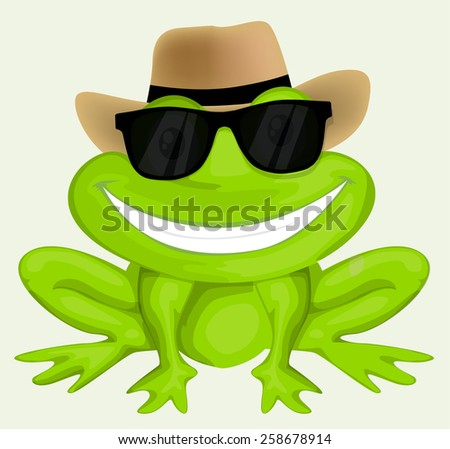 Cartoon frog in sunglasses - stock vector