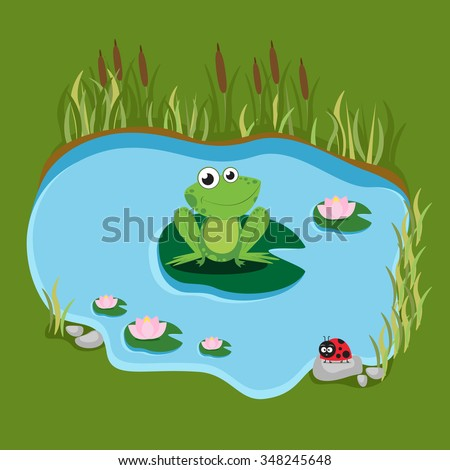 Cartoon frog sitting on a water lily in the swamp. Vector illustration.