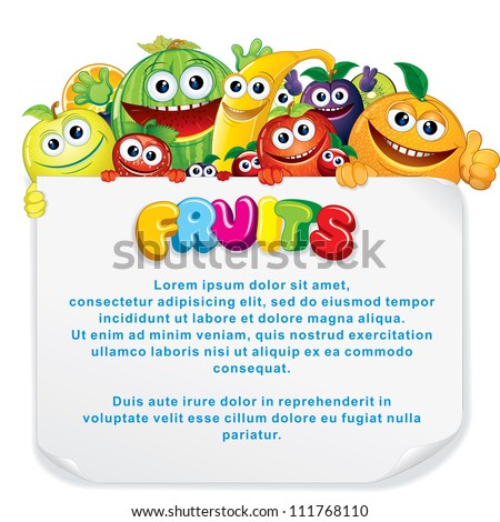 Cartoon Fruits. Funny Banana, Apple, Orange, Strawberry and other are holding a Blank Sign. Vector Illustration - stock vector