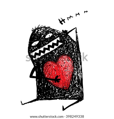 Cartoon fun amazing character scribble love with red heart inside. Cartoon character with red heart. Cute comic bizarre monster, vector drawing illustration. - stock vector