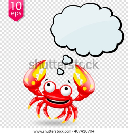 Cartoon fun crab character which speech bubble on transparent background. Vector illustration, clip-art - stock vector