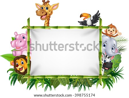 Cartoon funny african animals with blank sign - stock vector