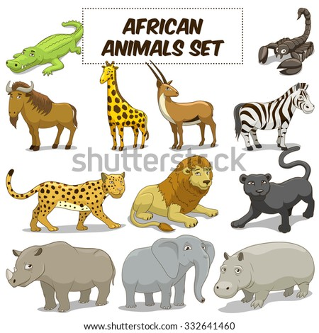 Cartoon funny african savannah animals colorful set vector illustration - stock vector