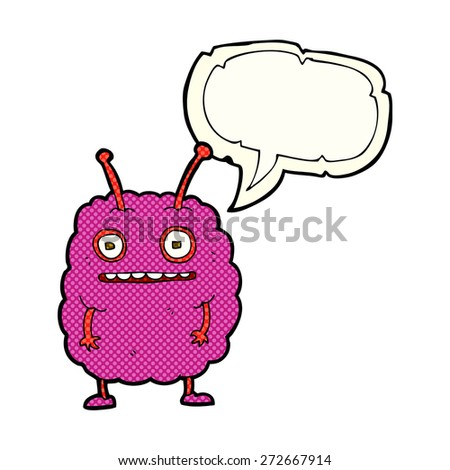 cartoon funny alien monster with speech bubble