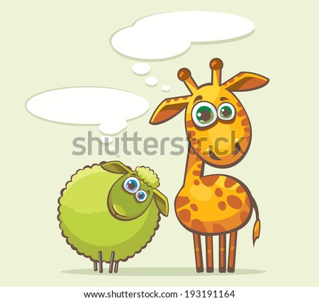 Cartoon funny animal - giraffe and sheep looking with surprise and thinking about something. - stock vector