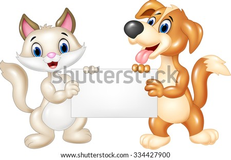 Cartoon funny cat and dog holding blank sign - stock vector