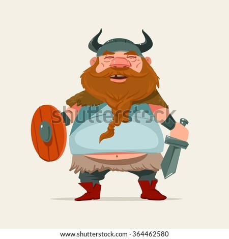 cartoon funny character, viking, vector illustration - stock vector