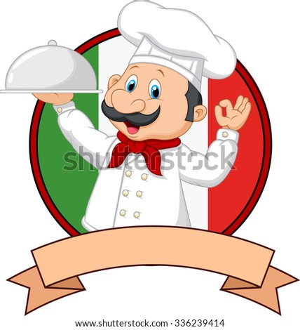 Cartoon funny Chef cartoon holding platter  - stock vector