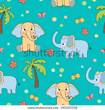 Cartoon funny cute baby seamless pattern with elephants palm tree butterflies and flowers - stock vector