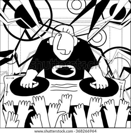 Cartoon funny DJ illustration. DJ music set  - stock vector