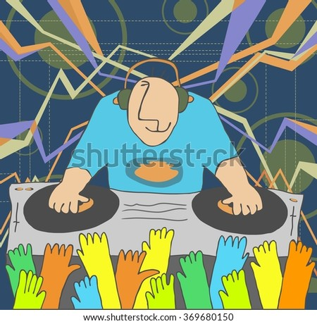 Cartoon funny DJ illustration. DJ performing music and people dancing with hands up  - stock vector