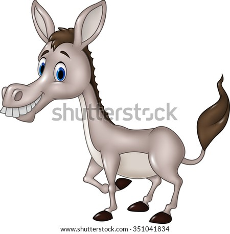 Cartoon funny donkey isolated on white background - stock vector