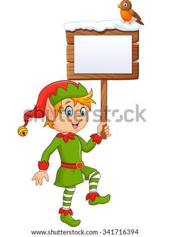 Cartoon funny elf boy holding blank sign with robin bird - stock vector