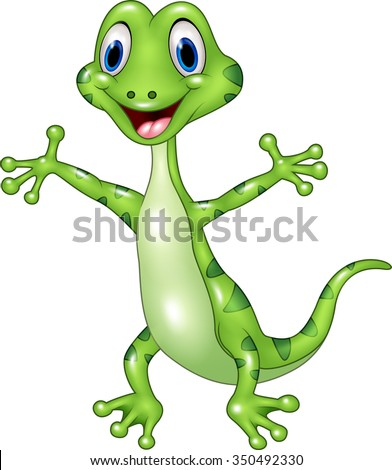 Cartoon funny green lizard posing isolated on white background - stock vector