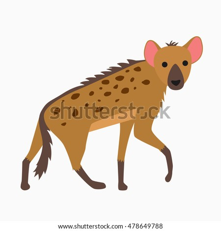cartoon funny hyena walking isolated on white background