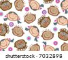 cartoon funny kids pattern (vector) - stock vector