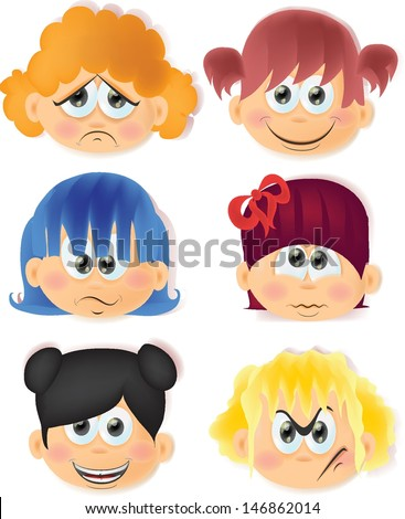 Cartoon funny kids with emotions  - stock vector