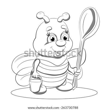 Cartoon funny little bee with a big spoon and a bucket of honey. Coloring book. - stock vector