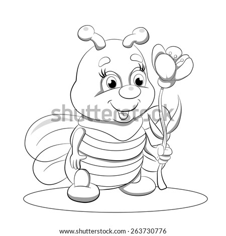 Cartoon Funny Little Bee With Flower Coloring Book