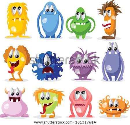 Cartoon funny monsters  - stock vector