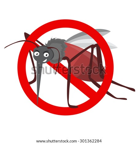 cartoon funny mosquito illustration on a white background. insect prohibition sign, mosquito prohibition sign - stock vector