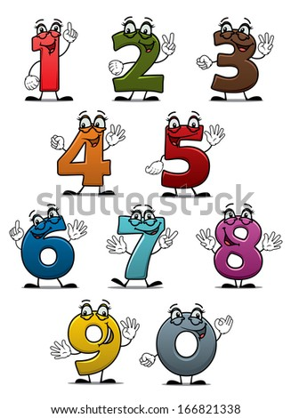 Cartoon funny numbers and digits set for education or another design - stock vector