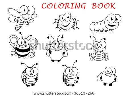 Cartoon funny outline insect characters with fly, ladybug, butterfly, dragonfly, bee caterpillar beetle spider and grasshopper - stock vector