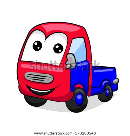 cartoon funny red and blue tipper with eyes