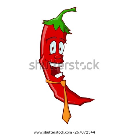 Cartoon funny red chili pepper, dressed in an orange necktie - stock vector