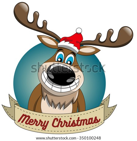 Cartoon funny reindeer wishing merry christmas in round frame isolated - stock vector
