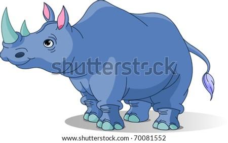 Cartoon funny  rhino isolated on white - stock vector