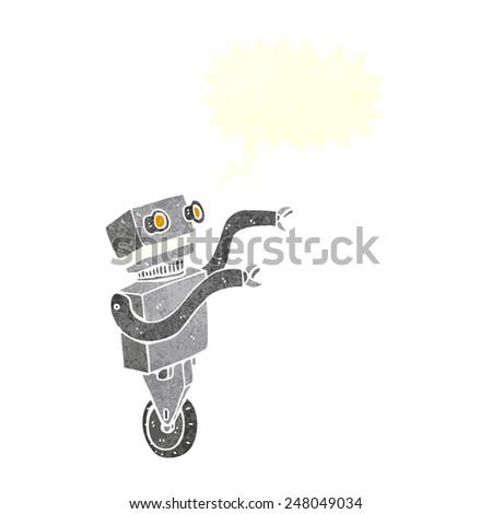 cartoon funny robot with speech bubble - stock vector