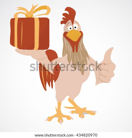 Cartoon funny rooster with thump up holding gift box - stock vector