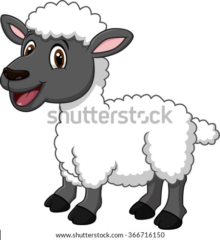 Cartoon funny sheep posing isolated on white background - stock vector