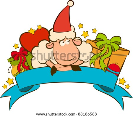 Cartoon funny sheep with gifts. Vector Christmas illustration