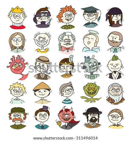 Cartoon funny user avatars in trendy hand drawn doodle style. Set of men faces with different emotions, professions, hobby. Cute colored vector illustration isolated on white. - stock vector