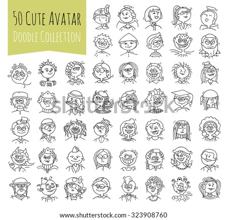Cartoon funny user avatars in trendy hand drawn doodle style. Set of women, men character faces with different emotions, professions, hobby. Cute vector isolated on white. All objects are grouped. - stock vector