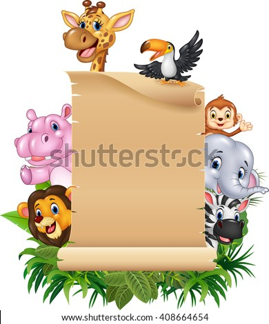 Cartoon funny wild animal africa with blank sign - stock vector