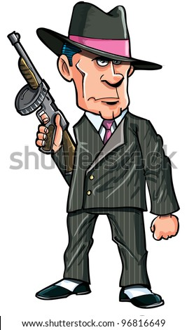 Cartoon 1920 gangster with a machine gun. Isolated