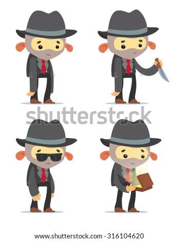 Cartoon Gangsters - stock vector