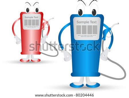 cartoon gas station - stock vector