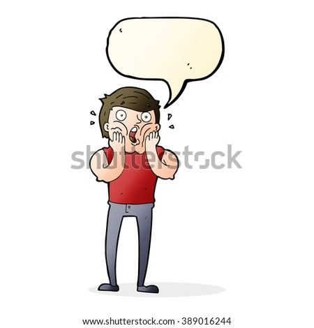 cartoon gasping man with speech bubble - stock vector
